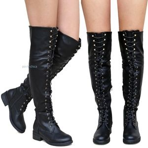 Shoes - New Black Over Knee Combat Military Lace Up Boots